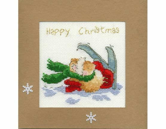 Apres Ski Mouse Cross Stitch Christmas Card Kit