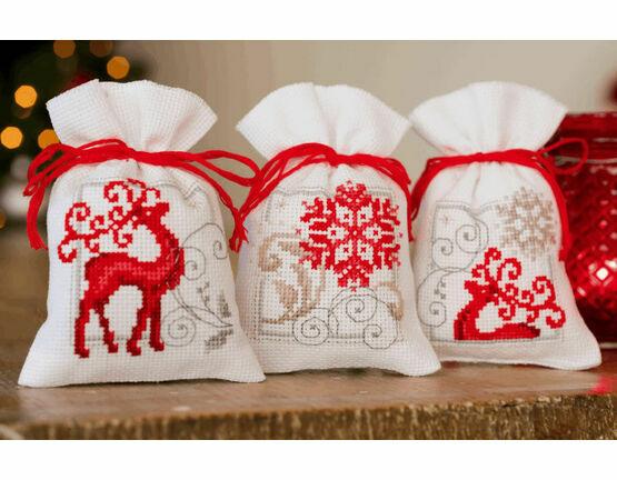 Deer with Snowflakes On White Pot Pourri Bags Set of 3 Cross Stitch Kits