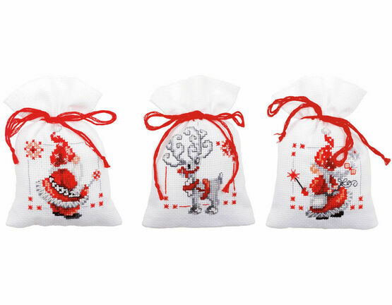 Christmas Elves Pot Pourri Bags Set of 3 Cross Stitch Kits