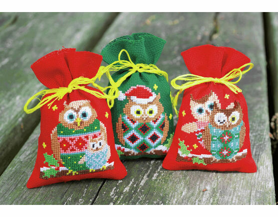 Christmas Owls Pot Pourri Bags Set of 3 Cross Stitch Kits