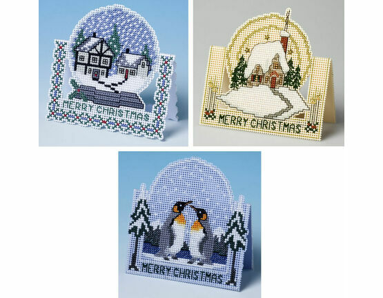 3D Christmas Cross Stitch Card Kits (Set1) - Snow Globe, Penguin and Winter Afternoon