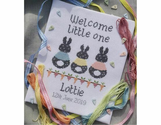 Bunny Baby Birth Sampler Cross Stitch Kit