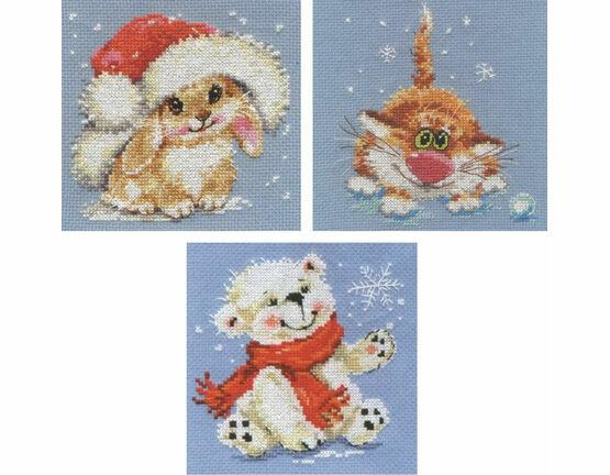 Snowy Creatures Cross Stitch Kits (set of 3)