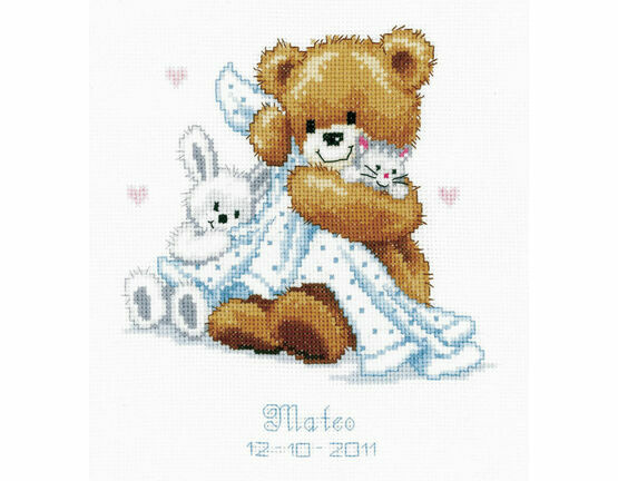 Teddy & Blanket Birth Record Cross Stitch Kit