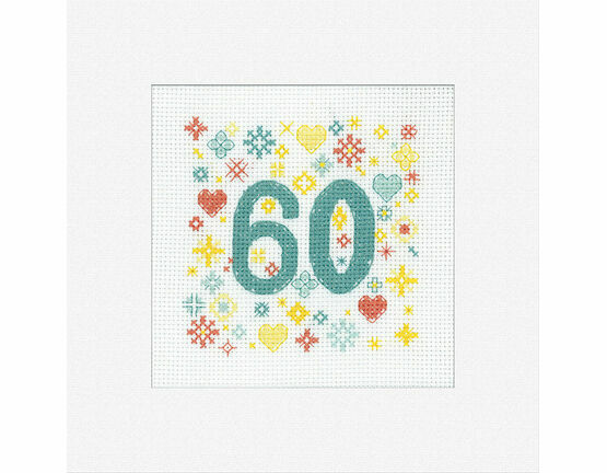 60th Celebration Cross Stitch Card Kit