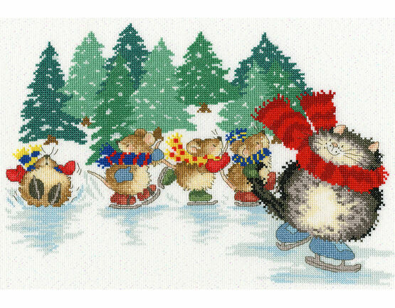 Mice Skating Cross Stitch Kit