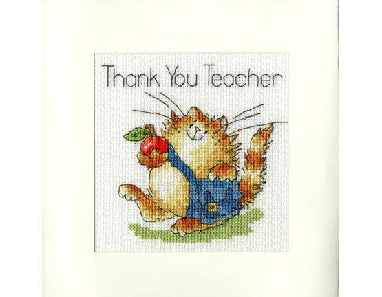 An Apple For Teacher Cross Stitch Card Kit