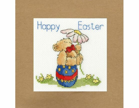 Easter Teddy Cross Stitch Card Kit