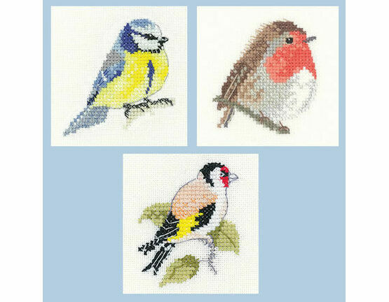 Little Friends Set Of 3 Cross Stitch Kits - Robin, Blue Tit, Goldfinch