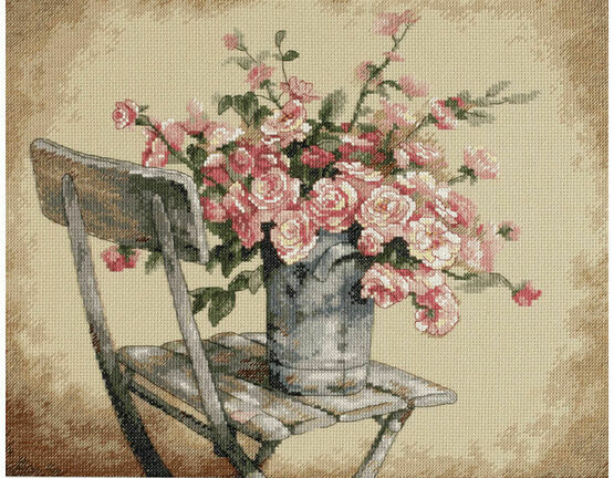 Roses On A White Chair Cross Stitch Kit