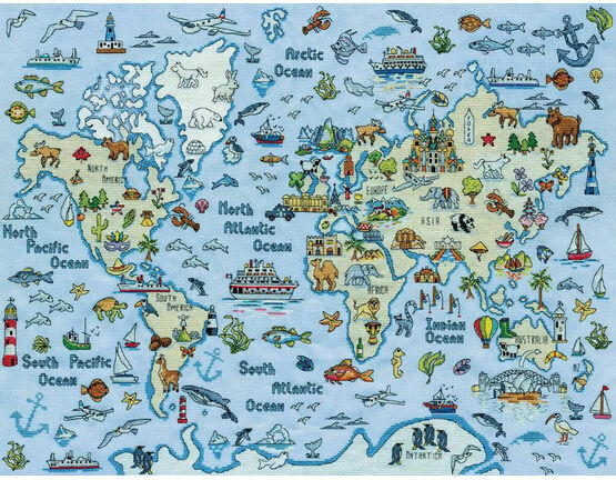World Map Cross Stitch Kit