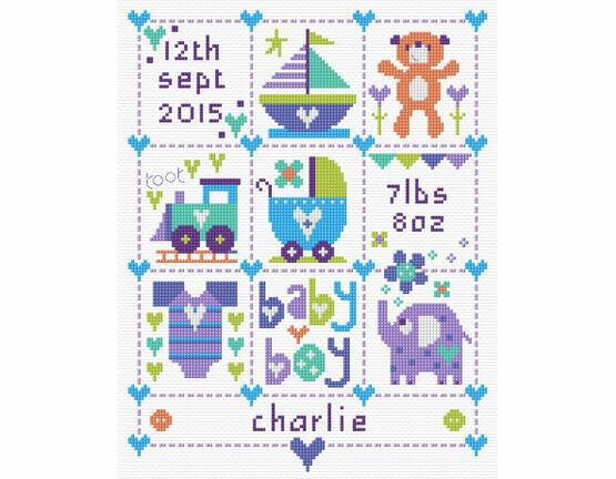 Baby Boy Squares Birth Sampler Kit