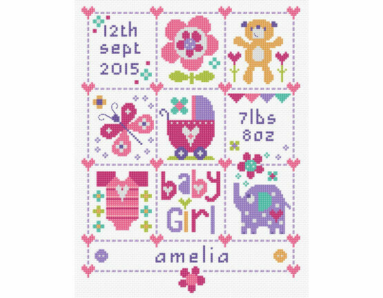 Baby Girl Squares Birth Sampler Kit