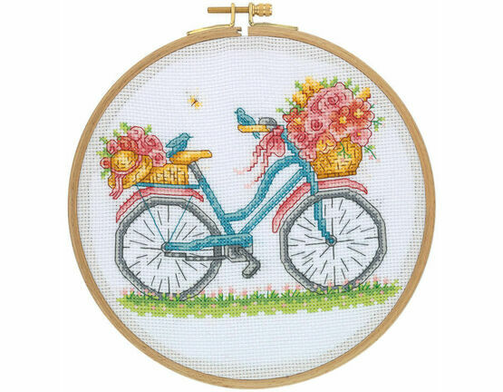 Birds, Blooms & Bicycles Cross Stitch Hoop Kit