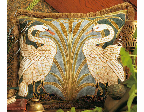 Swans Cushion Panel Needlepoint Kit