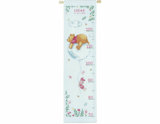Winnie On Balloon Height Chart Cross Stitch Kit