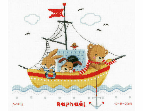 Sailing Boat Birth Sampler Cross Stitch Kit
