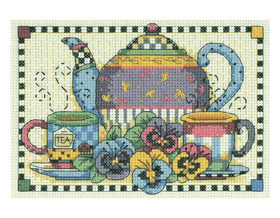 Teatime Pansies Cross Stitch Kit