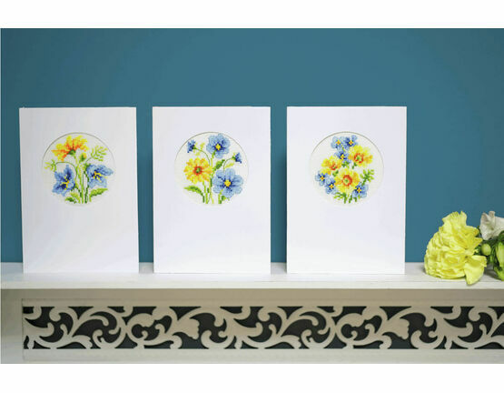 Blue & Yellow Flowers Set Of 3 Cross Stitch Card Kits