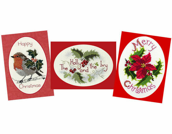 Holly Cross Stitch Card Kits (Derwentwater Designs Set 1)