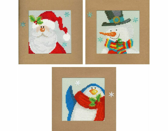 Snowy Set Of 3 Cross Stitch Card Kits