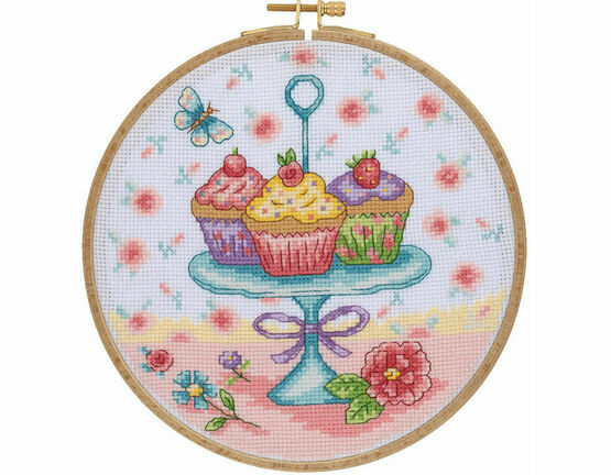Pretty Cupcakes Cross Stitch Hoop Kit