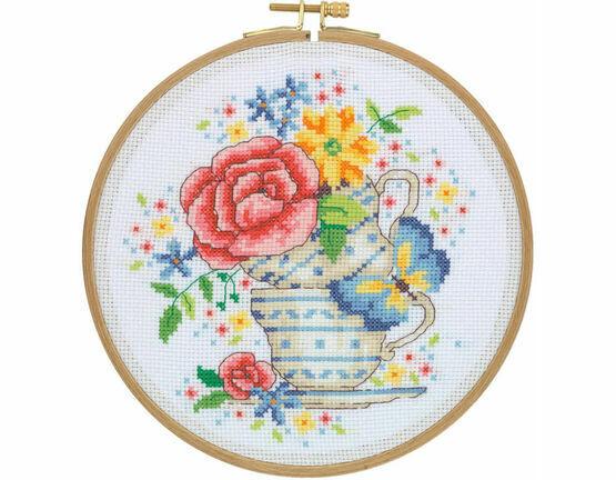 Vintage Tea Cups Cross Stitch Hoop Kit