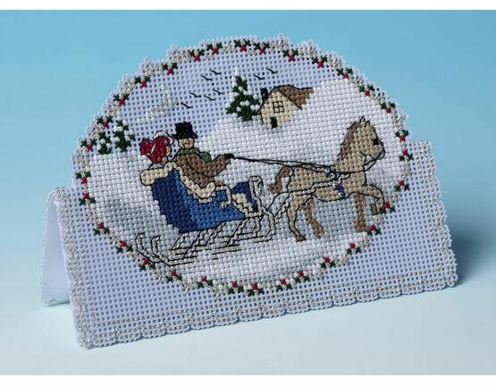 Dashing Through The Snow 3D Cross Stitch Christmas Card Kit