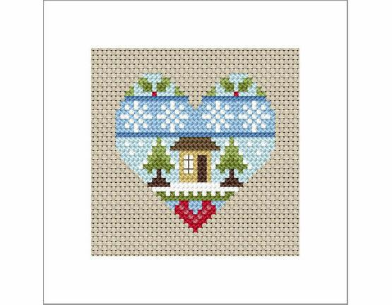 Festive Heart Home Cross Stitch Christmas Card Kit