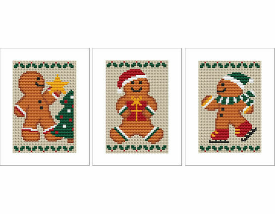 Gingerbread Men Cross Stitch Christmas Card Kits - Set of 3