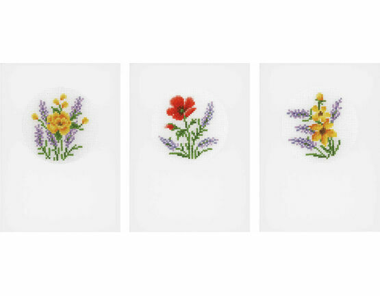 Flowers & Lavender Cross Stitch Card Kits Set of 3