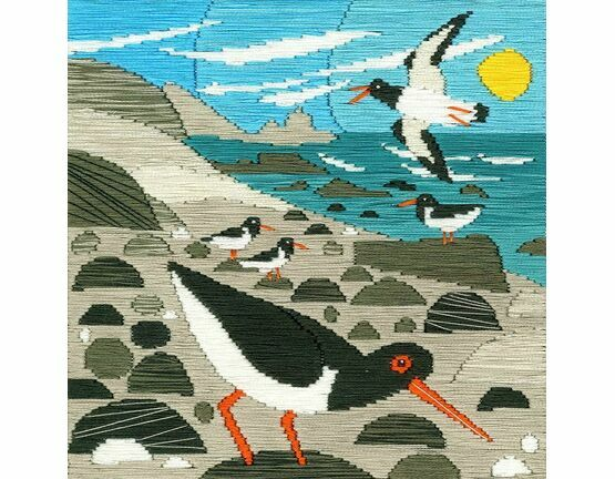 Oyster Catchers Silken Long Stitch Kit