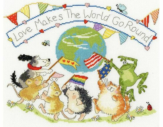 Love Makes The World Go Round Cross Stitch Kit