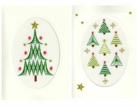 Christmas Tree & Forest Cross Stitch Card Kits - Set of 2