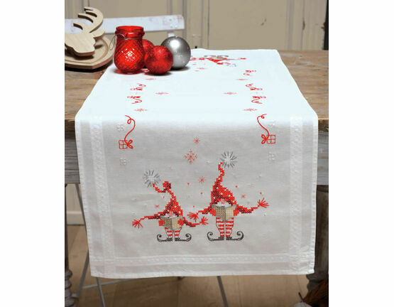 Christmas Gnomes Cross Stitch Table Runner Kit