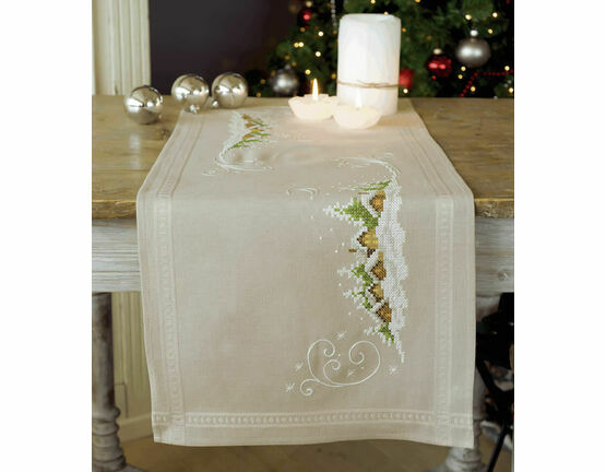 Village In The Snow Embroidery Table Runner Kit