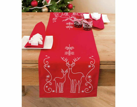 Deer & Snow Crystals Table Runner Embroidery Kit