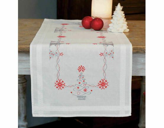 Christmas Trees On White Embroidery Table Runner Kit