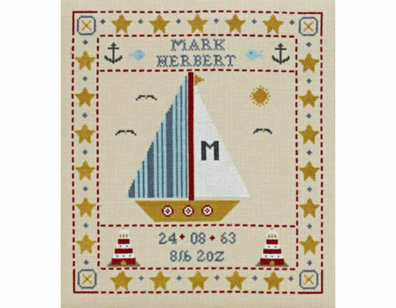 Sail Boat Birth Sampler Cross Stitch Kit