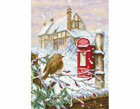 Red Mail Box Robin Cross Stitch Kit