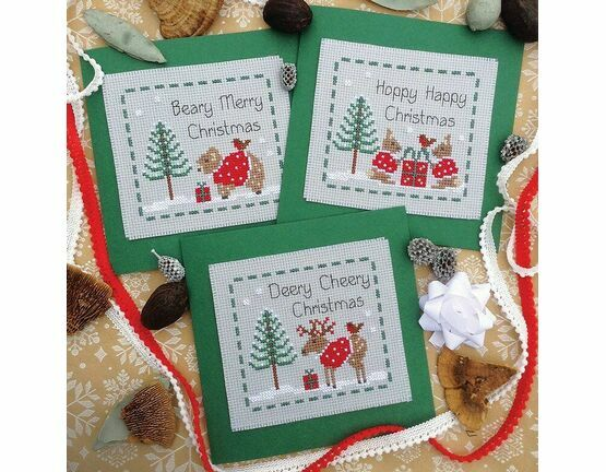 Woodland Friends Cross Stitch Christmas Card Kits (Set of 3)
