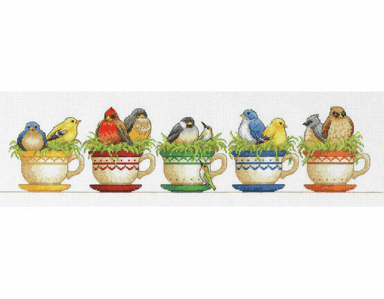 Teacup Birds Cross Stitch Kit