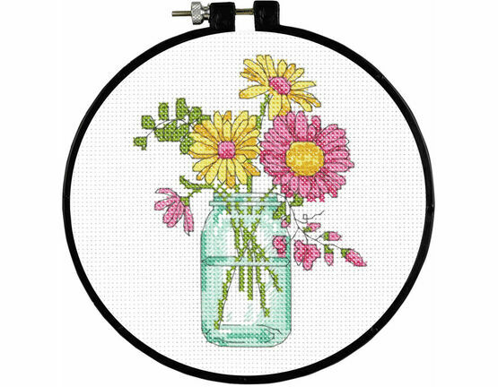 Summer Flowers Learn-A-Craft Counted Cross Stitch Kit With Hoop