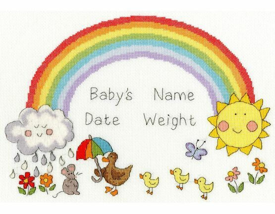 Rainbow Baby Cross Stitch Birth Sampler Kit