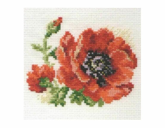 Poppy Flower Cross Stitch Kit