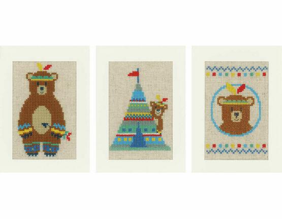 Indian Bear Set Of 3 Cross Stitch Card Kits