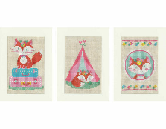 Little Fox Set Of 3 Cross Stitch Card Kits