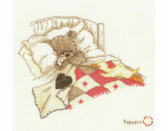 Popcorn Bear Cuddle Up Cross Stitch Kit