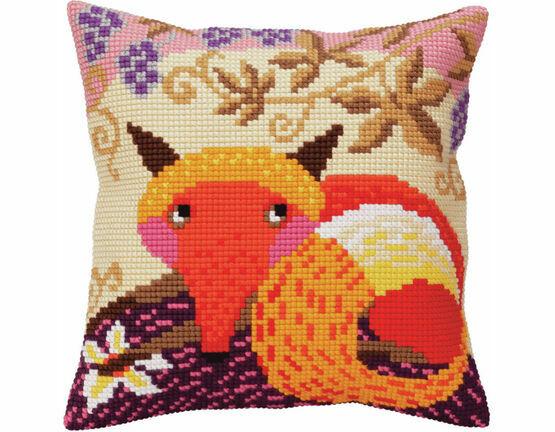 Fox And Grape Chunky Cross Stitch Cushion Panel Kit