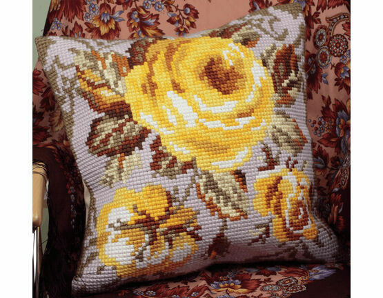 Antique Rose Yellow Chunky Cross Stitch Cushion Panel Kit